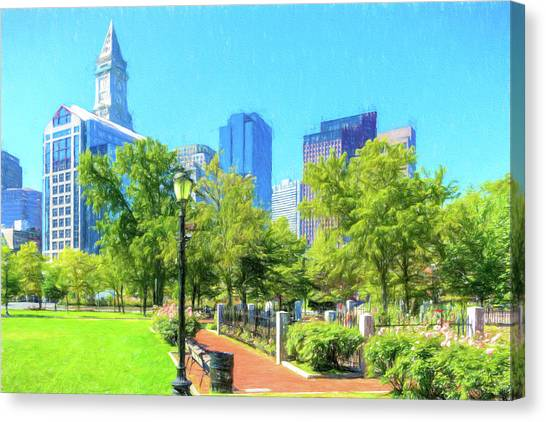Boston Skyline From Columbus Park Canvas Print