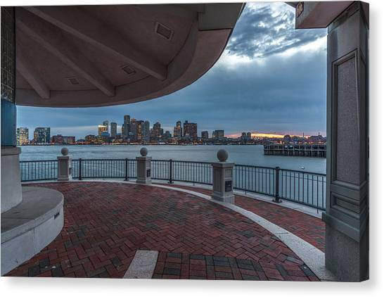 Boston Skyline From Piers Park  East Boston Ma Canvas Print