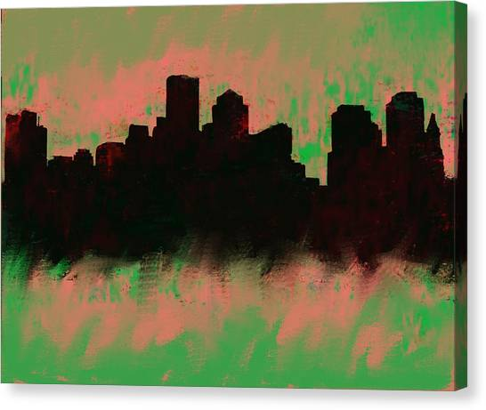 Ben Affleck Canvas Print - Boston Skyline Green  by Enki Art