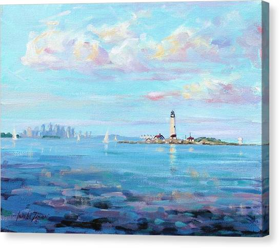 Lighthouse Canvas Print - Boston Skyline by Laura Lee Zanghetti