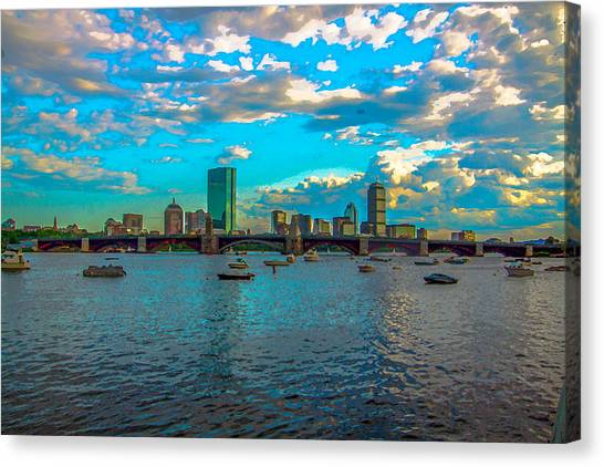 Boston Skyline Painting Effect Canvas Print