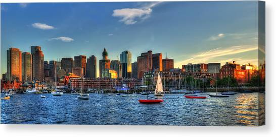 Boston Skyline Panoramic - Boston Harbor Canvas Print by Joann Vitali