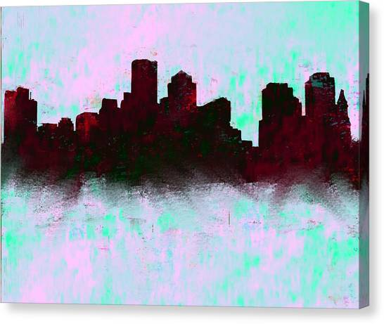 Ben Affleck Canvas Print - Boston Skyline Sky Blue  by Enki Art
