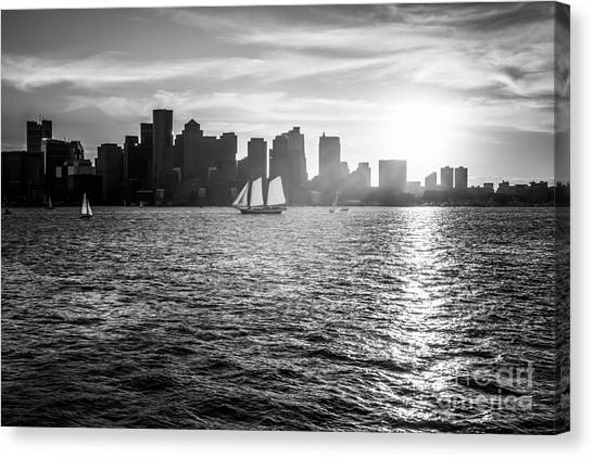 Oversized Canvas Print - Boston Skyline Sunset Black And White Photo by Paul Velgos