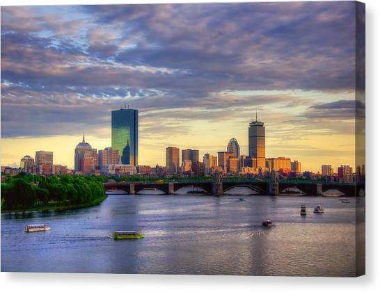 Hancock Building Canvas Print - Boston Skyline Sunset Over Back Bay by Joann Vitali