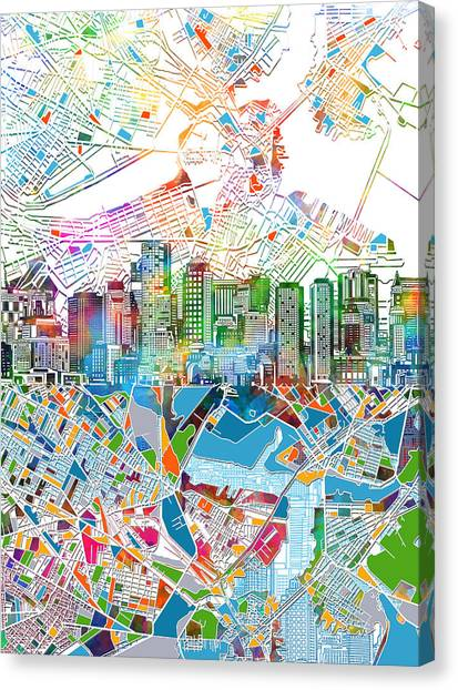 Boston Skyline Canvas Print - Boston Skyline White by Bekim Art