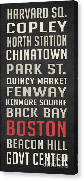 Harvard Canvas Print - Boston Subway Stops Poster by Edward Fielding
