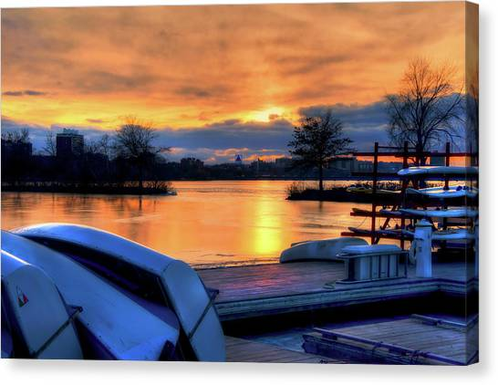 Boston Sunset On The Charles River With Citgo Sign Canvas Print by Joann Vitali