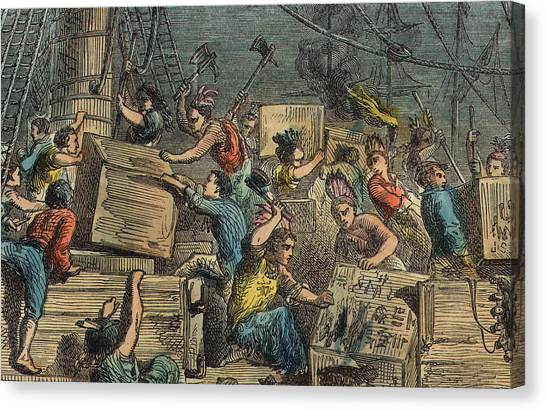 Tea Leaves Canvas Print - Boston Tea Party by American School