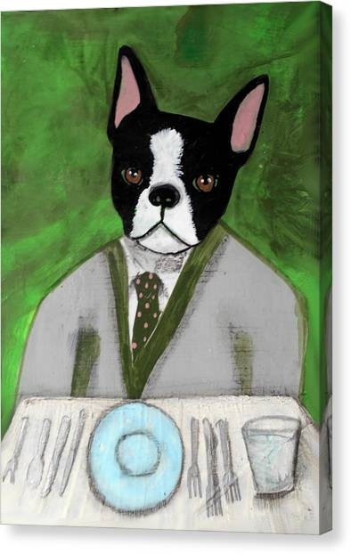 Boston Terrier At A Formal Dinner Canvas Print