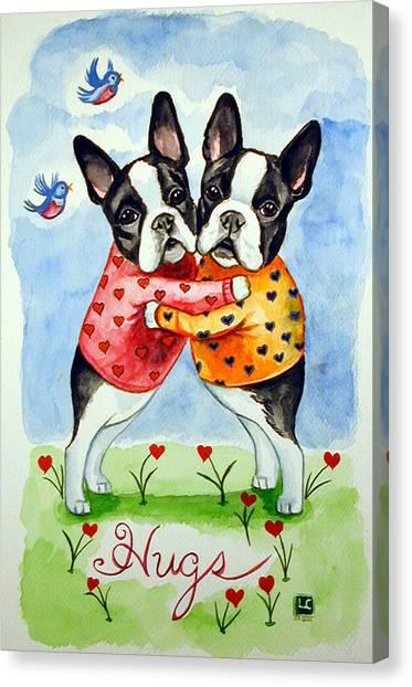 Boston Terriers Canvas Print - Boston Terrier Hugs by Lyn Cook