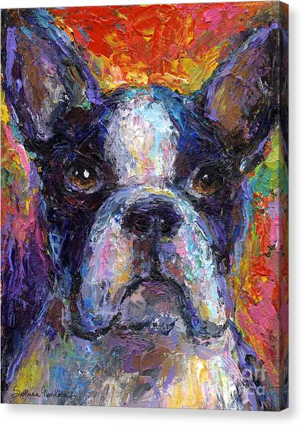 Boston Terrier Canvas Print - Boston Terrier Impressionistic Portrait Painting by Svetlana Novikova