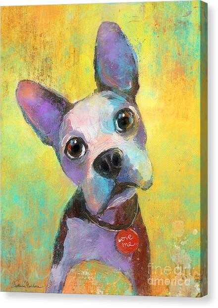 Boston Terrier Canvas Print - Boston Terrier Puppy Dog Painting Print by Svetlana Novikova