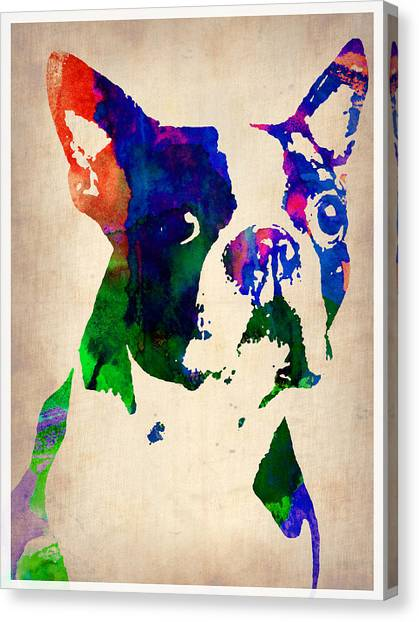 Boston Canvas Print - Boston Terrier Watercolor by Naxart Studio