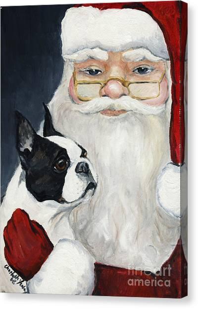 Boston Terrier With Santa Canvas Print
