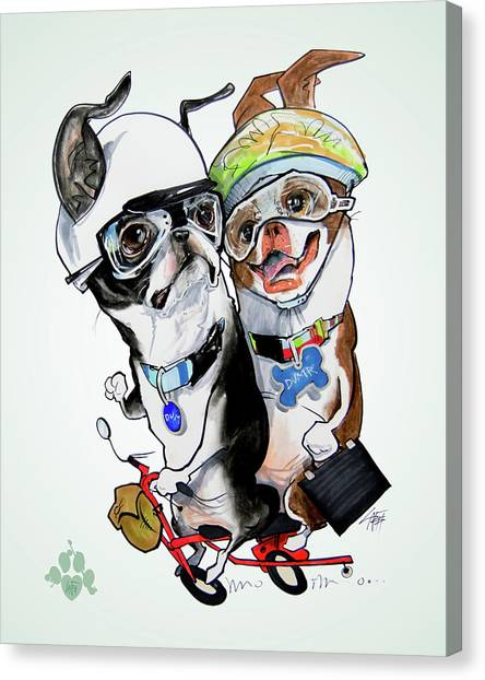 Boston Terrier Canvas Print - Boston Terriers - Dumb And Dumber by John LaFree