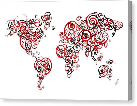 Patriot League Canvas Print - Boston University Colors Swirl Map Of The World Atlas by Jurq Studio