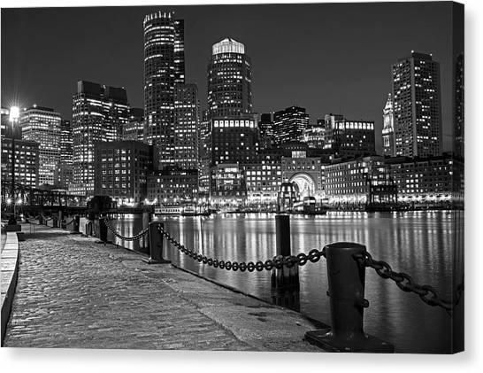 Boston Waterfront Boston Skyline Black And White Canvas Print