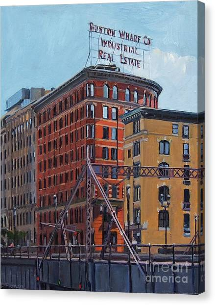 Boston Wharf Co On Summer Street Canvas Print