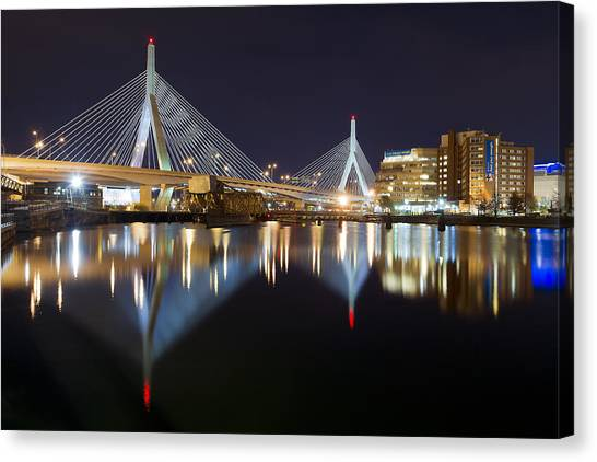 Boston Zakim Memorial Bridge Nightscape II Canvas Print