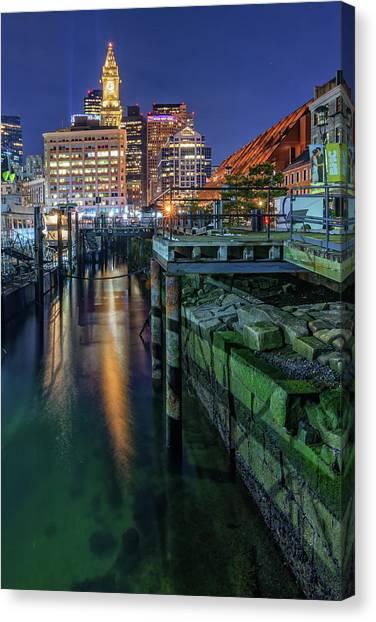 Boston's Custom House Tower From Long Wharf Canvas Print