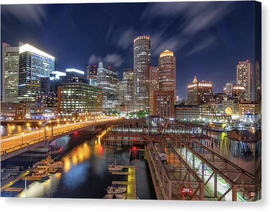 Boston's Skyline At Night Canvas Print