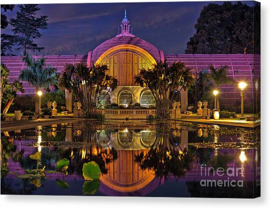 Botanical Building At Night In Balboa Park Canvas Print