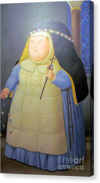 Botero Nunn In Blue Canvas Print