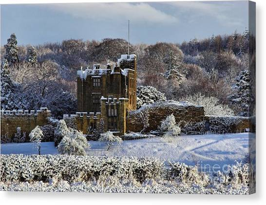Bothal Castle In Winter Canvas Print