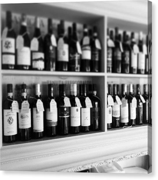 Red Wine Canvas Print - #bottiglie #bottles #black #white #bn by Federico Rosati