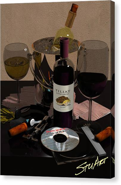 Bottle Of Red...bottle Of White Canvas Print by Stuart Stone
