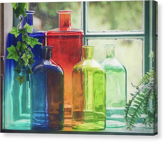 Bottles In The Window Canvas Print