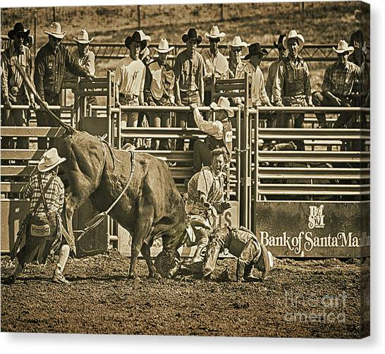 Rodeo Clown Canvas Print - Bottoms Up by Don Schimmel
