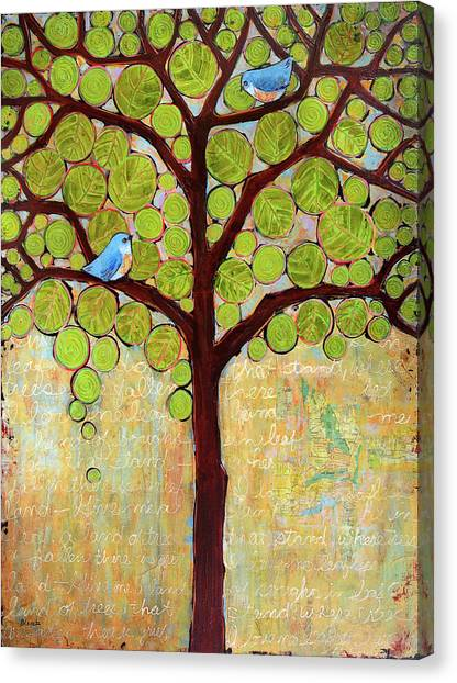 Bluebird Canvas Print - Boughs In Leaf Tree by Blenda Studio