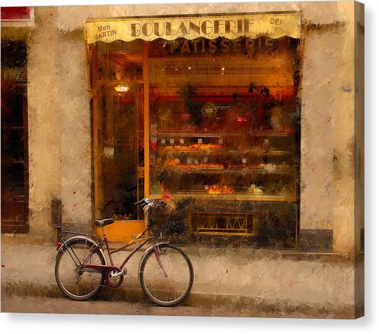Canvas Print - Boulangerie And Bike 2 by Mick Burkey