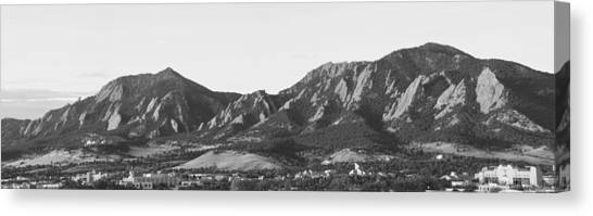 Boulder Colorado Flatirons And Cu Campus Panorama Bw Canvas Print