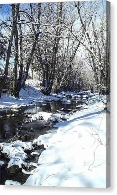 Boulder Creek After A Snowstorm Canvas Print