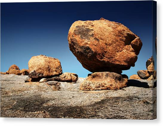 Big South Canvas Print - Boulder On Solid Rock by Johan Swanepoel