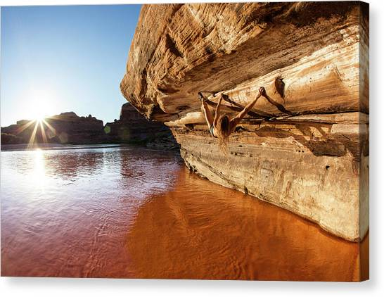 Bouldering Above River Canvas Print