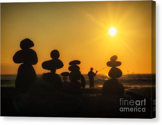Boulders By The Sea Canvas Print