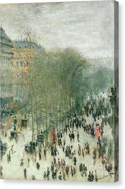People Canvas Print - Boulevard Des Capucines by Claude Monet