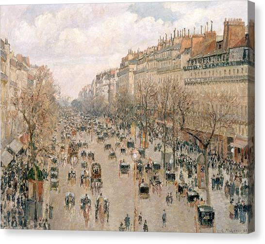Camille Canvas Print - Boulevard Montmartre Afternoon Sun by Camille Pissarro