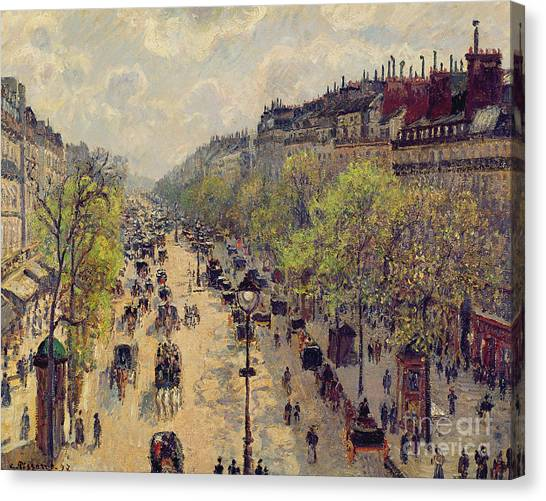 Carriage Canvas Print - Boulevard Montmartre by Camille Pissarro