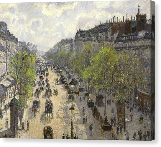 Camille Canvas Print - Boulevard Montmartre Spring by Camille Pissarro