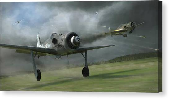 Aircraft Canvas Print - Bounced - Painterly by Robert Perry