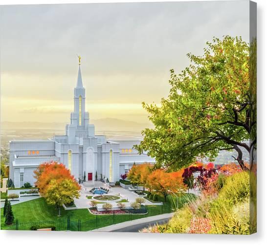 Mormon Canvas Print - Bountiful Temple Tree by La Rae  Roberts