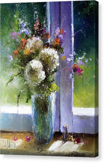 Bouquet At Window Canvas Print