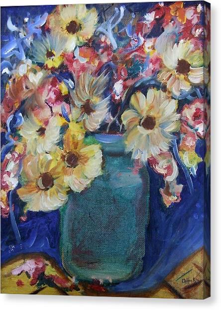 Bouquet Flowers Of Blue  Canvas Print