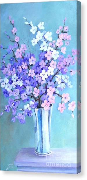 Bouquet In Silver Vase Canvas Print
