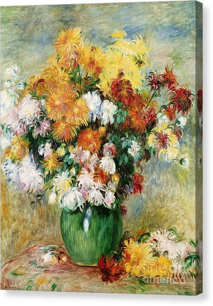 Pierre-auguste Renoir Canvas Print - Bouquet Of Chrysanthemums by Pierre Auguste Renoir